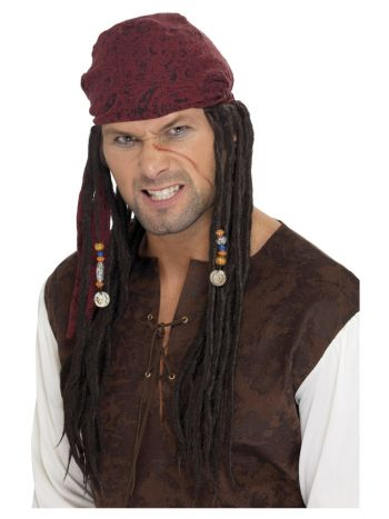 Pirate Wig & Scarf, Brown