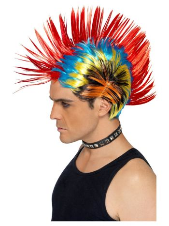 80s Street Punk Wig, Mohawk, Multi-Coloured
