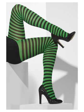 Opaque Tights, Green & Black