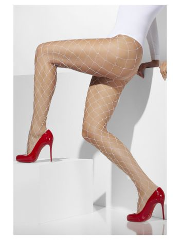 Diamond Net Tights, White