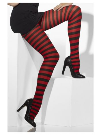 Opaque Tights, Red & Black