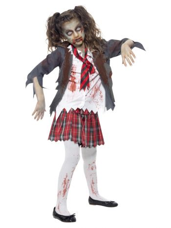 Zombie School Girl Costume, Grey