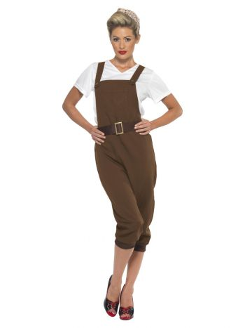 WW2 Land Girl Costume, Brown
