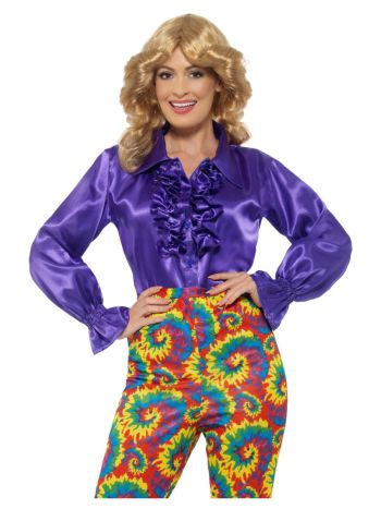Satin Ruffle Shirt, Ladies