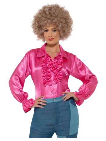 Satin Ruffle Shirt, Ladies, Pink