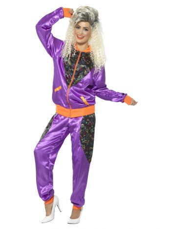 Retro Shell Suit Costume, Ladies, Purple
