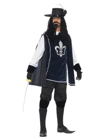 Musketeer Male Costume, with Top, Hat, Navy