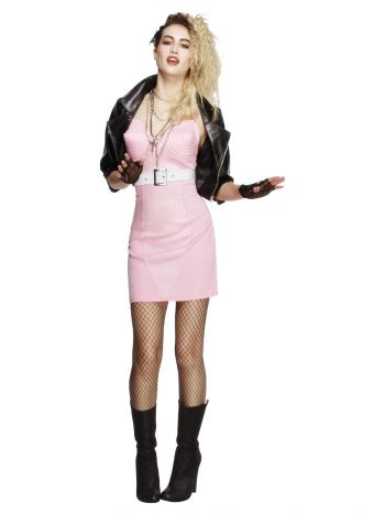 Fever 80s Rocker Diva Costume, Pink