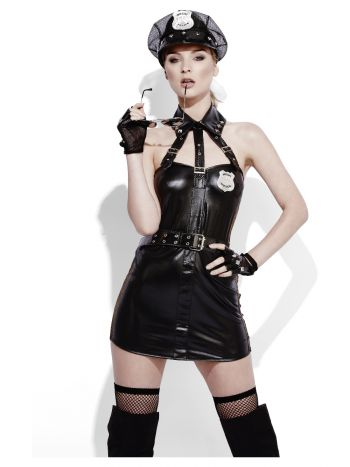 Fever Role-Play Cop Wet Look Costume, Black
