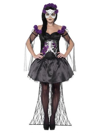 Day of the Dead Senorita Costume, Black