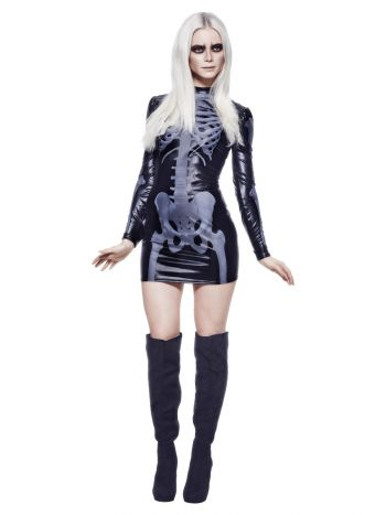 Fever Miss Whiplash Skeleton Costume, Black