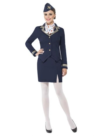 Airways Attendant Costume, Blue