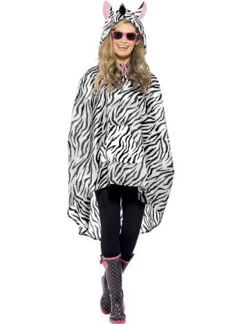 Zebra Party Poncho, Black & White