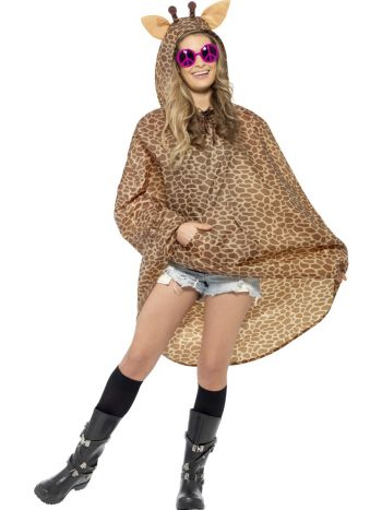Giraffe Party Poncho, Brown