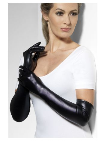 Gloves, Wet Look, Black