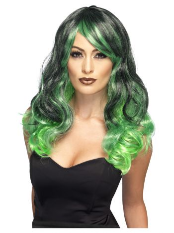 Ombre Wig, Bewitching, Green & Black