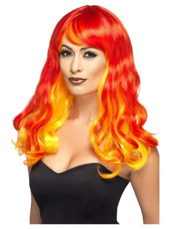 Ombre Devil Flame Wig, Red & Orange