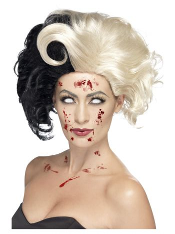 Deluxe Evil Madame Wig, Black & Blonde