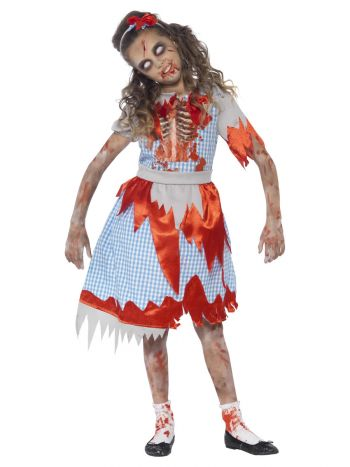 Zombie Country Girl Costume, Blue