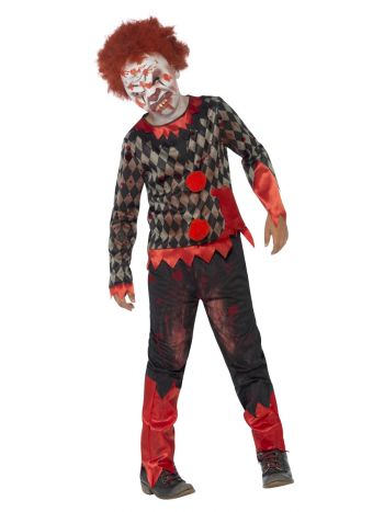 Deluxe Zombie Clown Costume, Red & Green