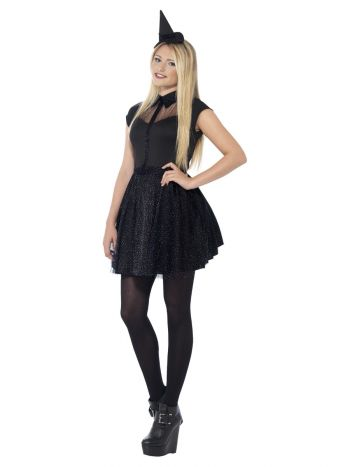 Glitter Witch Costume, Black