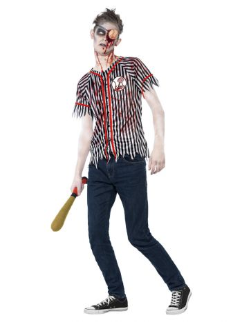 Zombie Baseball Player Costume, Black & White