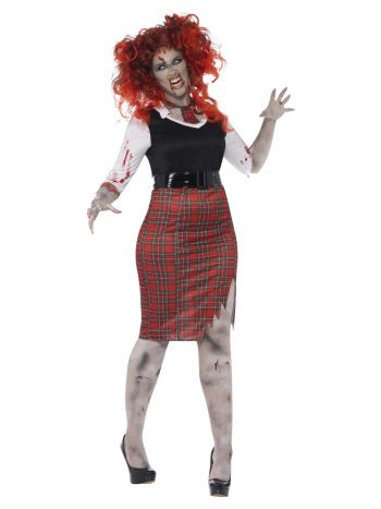 Curves Zombie School Girl Costume, Black