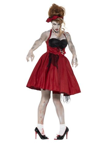 Zombie 50s Rockabilly Costume, Red