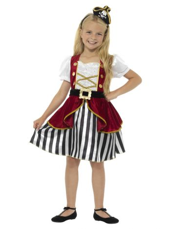 Deluxe Pirate Girl Costume, Red & Black