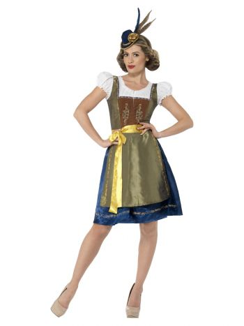 Deluxe Traditional Heidi Bavarian Costume, Green