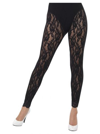 80s Lace Leggings, Black