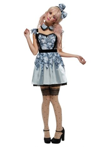 Fever Broken Doll Annie Costume, Blue