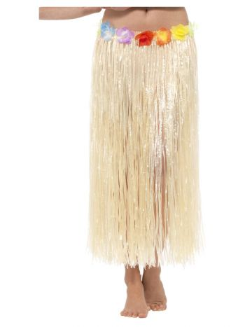 Hawaiian Hula Skirt with Flowers, with Velcro, Nat