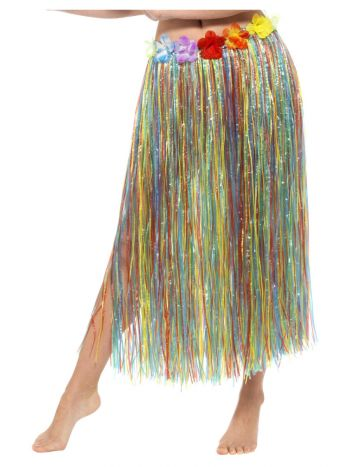 Hawaiian Hula Skirt with Flowers, with Velcro, Mul