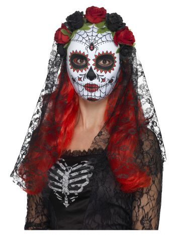 Day of the Dead Senorita Mask, Full Face, Red & Bl
