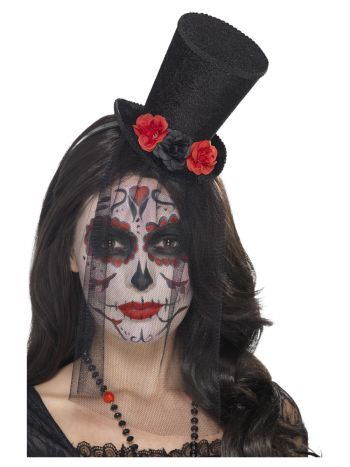 Day of the Dead Mini Top Hat, Black