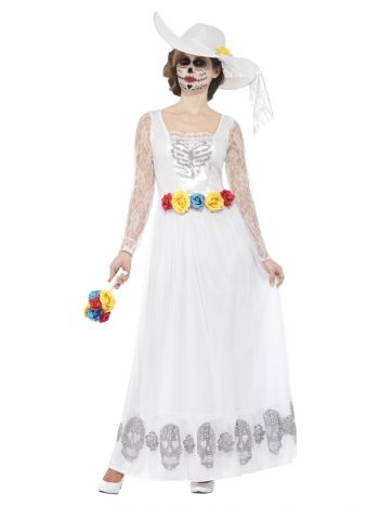 Day of the Dead Skeleton Bride Costume, White