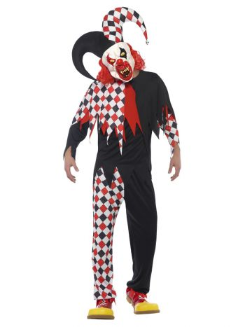 Crazed Jester Costume, Black & Red