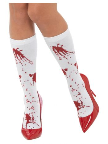 Blood Splatter Socks, White & Red
