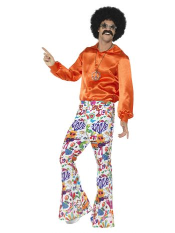 60s Groovy Flared Trousers, Mens, Multi-Coloured