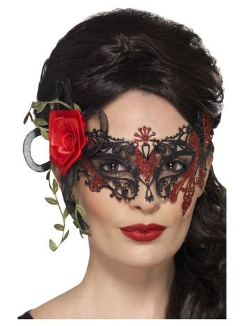 Day of the Dead Metal Filigree Eyemask, Black