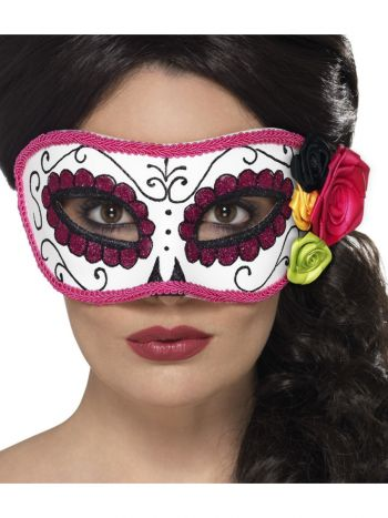 Day of the Dead Eyemask, White & Pink