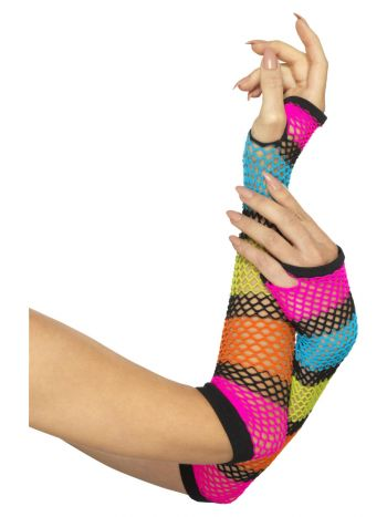 Fishnet Gloves, Long, Neon