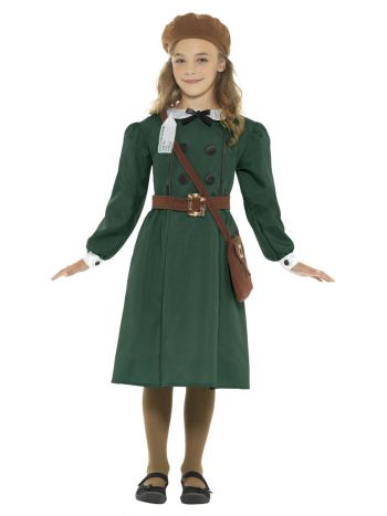 WW2 Evacuee Girl Costume, Green