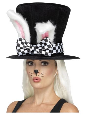 Tea Party March Hare Top Hat, Black & White