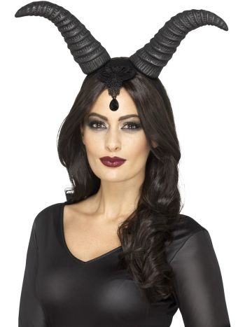 Demonic Queen Horns, on Headband, Black