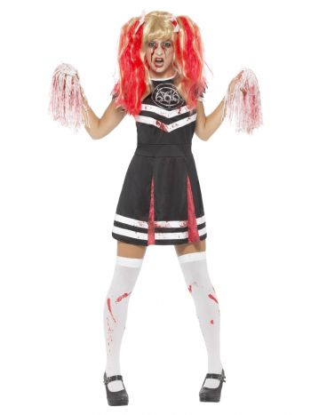 Satanic Cheerleader Costume, Black