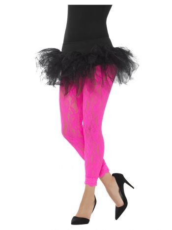 80s Lace Leggings, Neon Pink
