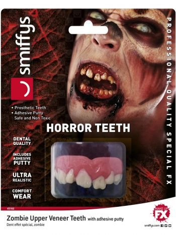 Smiffys Make-Up FX, Horror Teeth, Zombie, White