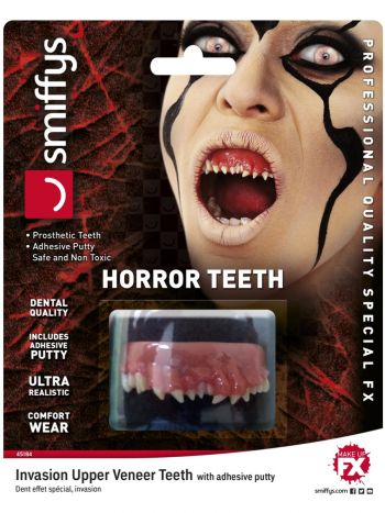 Smiffys Make-Up FX, Horror Teeth, Invasion, White